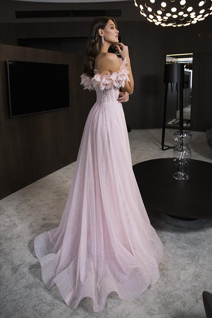 Вечерние Платья 1830 Силуэт  А-силует  Цвет  Розовый  Вырез  Сердце  Рукава  Приспущенный  Шлейф  Со шлейфом - Фото 3