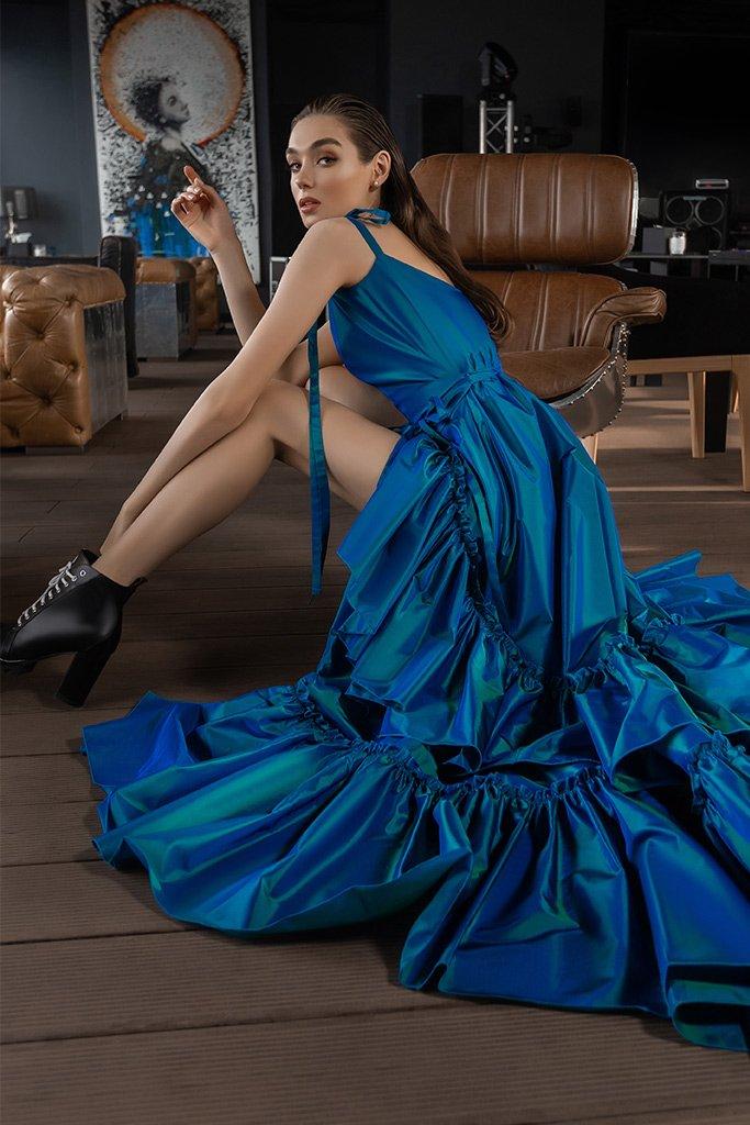 Вечірні сукні 2022 Силует  Прямий  Колір  Синій   Виріз  З беретелями  Рукави  Бретелі-спагеті  Шлейф  Без шлейфа - Фото 2