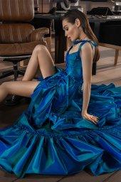 Вечірні сукні 2022 Силует  Прямий  Колір  Синій   Виріз  З беретелями  Рукави  Бретелі-спагеті  Шлейф  Без шлейфа - Фото 3