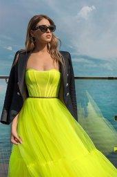 Вечерние Платья 2026 Силуэт  Пишный  Цвет  Зеленый  Вырез  Прямой  Рукава  Без рукавов  Шлейф  Без шлейфа - Фото 3