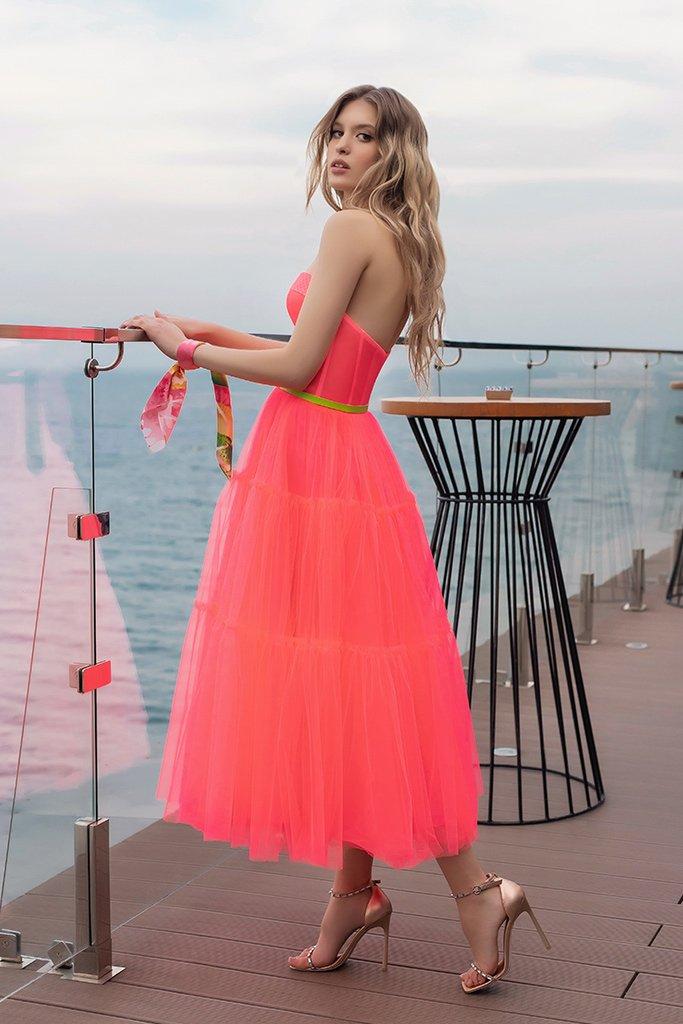 Вечірні сукні 2023 Силует  Пишний  Колір  Рожевий  Виріз  Прямий  Рукави  Без рукавів  Шлейф  Без шлейфа - Фото 3