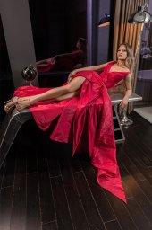 Вечірні сукні 2024 Силует  Прямий  Колір  Рожевий  Виріз  Ілюзія  Рукави  Широкі бретелі  Шлейф  З шлейфом - Фото 3