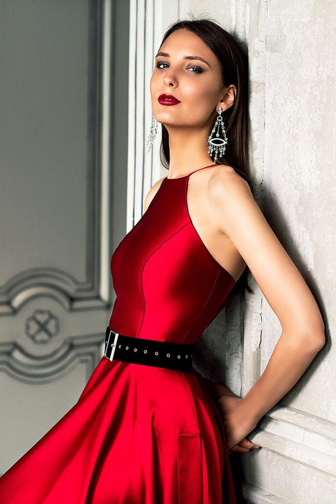 Вечерние Платья 1361-1 Силуэт  А-силует  Цвет  Красный  Рукава  Без рукавов  Шлейф  Без шлейфа - Фото 2