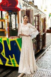 Весільні сукні Frida Силует  Прямий  Колір  Кремовий  Виріз  Квадратний  Рукави  Знімний  Широкі бретелі  Шлейф  З шлейфом - Фото 9