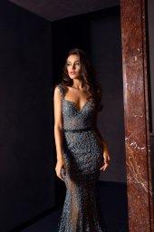 Вечірні сукні 1477 Силует  Рибка  Колір  Синій   Виріз  Серце  Рукави  Без рукавів  Шлейф  З шлейфом - Фото 2