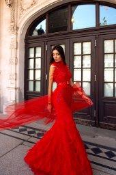 Вечерние Платья 1522 Силуэт  Облегающий  Цвет  Красный  Вырез  Стойка  Рукава  Без рукавов  Шлейф  Со шлейфом - Фото 3