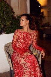 Вечерние Платья 1476-1 Силуэт  Облегающий  Цвет  Красный  Вырез  Круглый  Рукава  Длинный  Шлейф  Со шлейфом - Фото 2