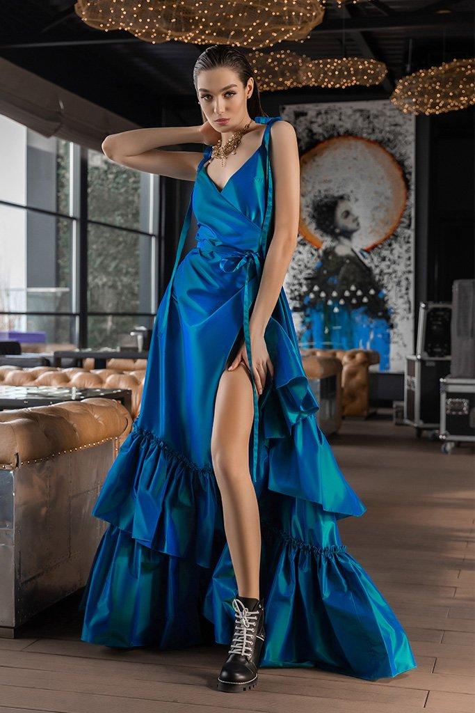 Вечірні сукні 2022 Силует  Прямий  Колір  Синій   Виріз  З беретелями  Рукави  Бретелі-спагеті  Шлейф  Без шлейфа