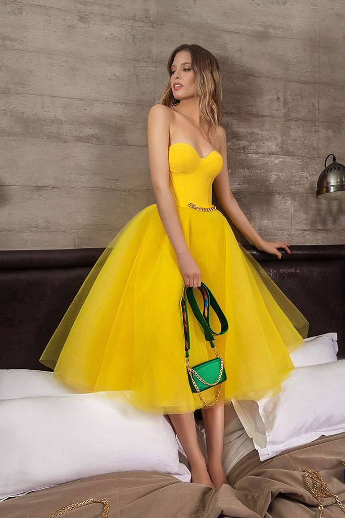 Вечерние Платья 2007 Силуэт  Пишный  Цвет  Желтый  Вырез  Сердце  Рукава  Без рукавов  Шлейф  Без шлейфа